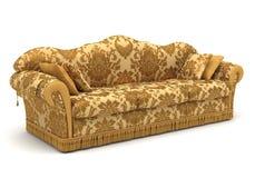 Sofa gold. Golden sofa isolate on white Stock Photos