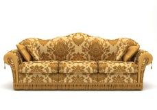 Sofa gold. Golden sofa isolate on white Royalty Free Stock Photos