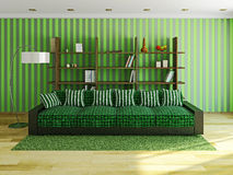 Sofa with green pillows Royalty Free Stock Photo