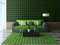 Sofa with green pillows. Near a brick wall Stock Images