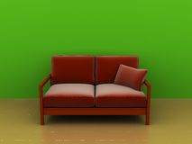 Sofa and green wall. 3d illustration of interior with sofa and green wall Royalty Free Stock Image