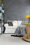 Sofa in grey room Stock Image