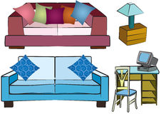 Sofa group objects Royalty Free Stock Image