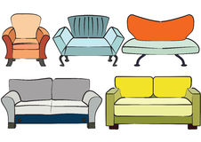 Sofa group objects Royalty Free Stock Images