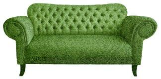Sofa hergestellt vom künstlichen grünen Gras stockbild