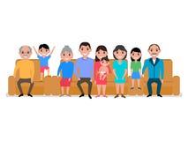 Sofa heureux de famille de bande dessinée d'illustration de vecteur grand illustration de vecteur