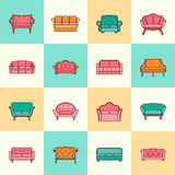 Sofa icon flat line Stock Images