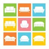 Sofa Icons Stockfotografie