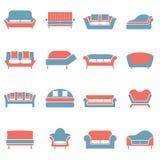 Sofa Icons Lizenzfreie Stockfotos