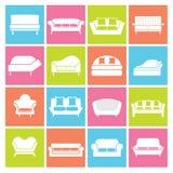 Sofa Icons Lizenzfreie Stockbilder