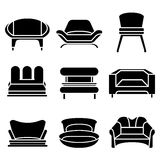 Sofa Icons Stockfotos
