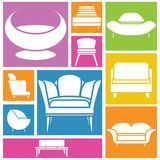 Sofa icons. Collection of sofa and chair icons in colorful buttons stock illustration