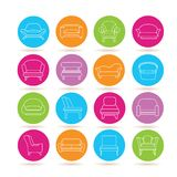 Sofa icons. Collection of 16 sofa icons in colorful buttons Stock Image
