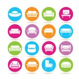 Sofa icons. Collection of 16 sofa icons in colorful buttons Royalty Free Stock Photography
