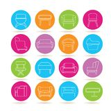 Sofa icons. Collection of 16 sofa icons in colorful buttons Royalty Free Stock Photos