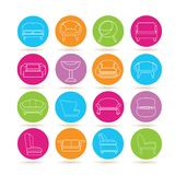 Sofa icons. Collection of 16 sofa icons in colorful buttons Stock Images