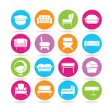 Sofa icons. Collection of 16 sofa icons in colorful buttons Royalty Free Stock Images