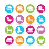 Sofa icons. Collection of 16 sofa icons in colorful buttons Stock Photography