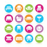 Sofa icons. Collection of 16 sofa icons in colorful buttons royalty free illustration