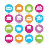 Sofa icons. Collection of 16 sofa icons in colorful buttons stock illustration