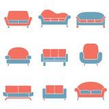 Sofa Icons Duotone Lizenzfreie Stockfotos