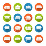 Sofa Icons Flat Stock Image