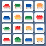 Sofa Icons Flat Royalty Free Stock Images