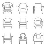 Sofa Icons Set Black Line Stock Photo