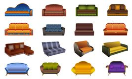 Sofa icons set, cartoon style royalty free illustration