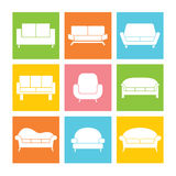 Sofa Icons Stock Photography