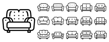 Sofa icons set, outline style vector illustration