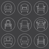 Sofa Icons Set White Line On Black Background Royalty Free Stock Photo