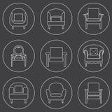 Sofa Icons Set White Line op Zwarte Achtergrond Royalty-vrije Stock Foto