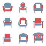 Sofa-Ikonen stellten Duotone ein Stockbild