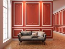 Sofa im klassischen roten Innenraum stock abbildung