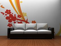 Sofa indoors with a pattern on the wall. Room with a sofa and pattern wall with white space for customization Stock Photography