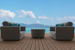 Sofa interior in cloudy blue sky seaview in 3D rendering vector illustration