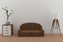 Sofa interior design with lamp and tree in the room in 3D render image Royalty Free Stock Photography