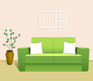 Sofa in the Interior. Green sofa in the living room. Vector illustration Royalty Free Stock Photography