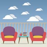 Sofa Interior Set At Balcony vacío Imagenes de archivo