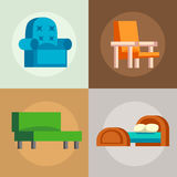 Sofa isolated vector illustration isolated furniture interior living simple element comfortable indoor home room set. Couch sofa isolated home seat. Style Royalty Free Stock Photos