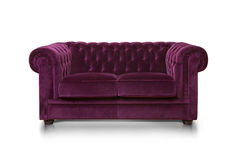 Sofa isolated on white background. Purple luxurious sofa isolated on white background, front view Royalty Free Stock Image