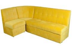 Sofa jaune de microfiber pour la pièce de wagon-restaurant avec l'espace mémoire Image libre de droits