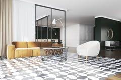 Sofa jaune de salon, fauteuil blanc Images stock