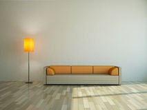 The sofa and the lamp Stock Photography