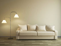 The sofa and the lamp Stock Photos