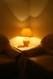 Sofa and lamp. Leather sofa with lamp on a table Stock Photography