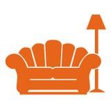 Sofa and lamp. Symbols on white background Stock Image