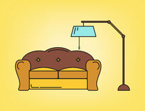 Sofa and lamp in living room Stock Photography