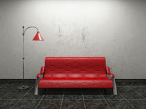 Sofa with lamp. Red leather sofa  near the concrete wall Stock Photography